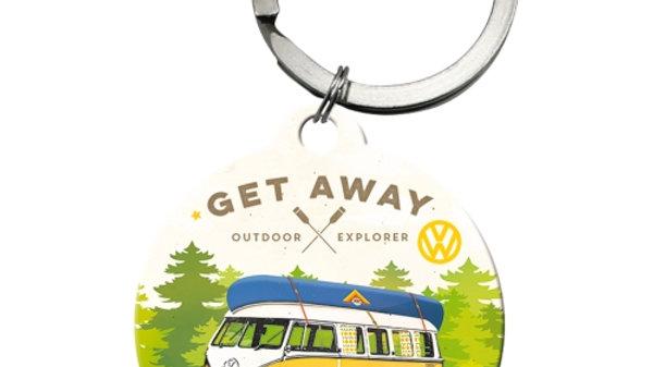 """VW Volkswagen Camper """"Get Away"""" Keyring"""