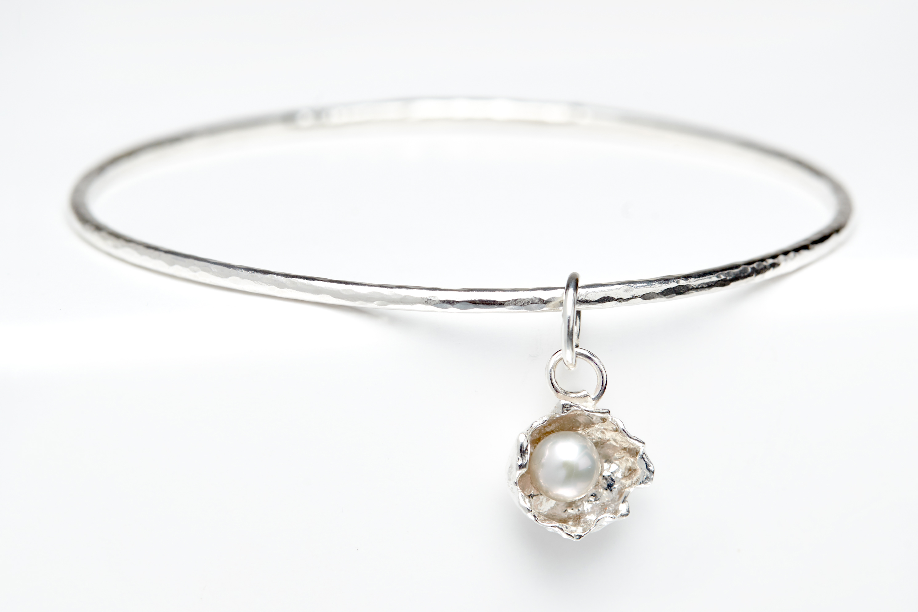 Pearl charm bangle