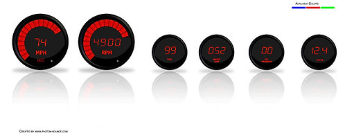 LED Digital Gauge Set in Black Bezel