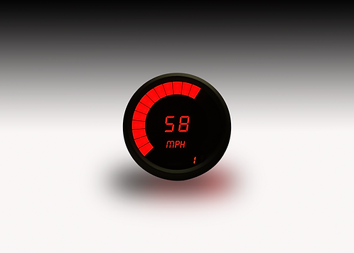 Speedometer/Tachometer Combo in Black Bezel with Programmable Memory