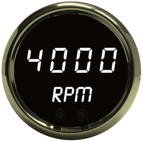 "Programmable Digital Mini-Tachometer 2 1/16"" in Chrome Trim"
