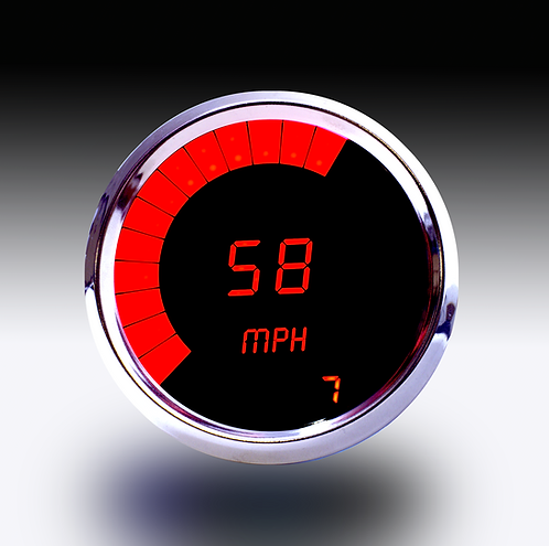 Speedometer in Chrome Bezel, with Programmable Bargraph Memory