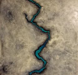 Fracture 2ftx2ft Abstract Painting blue