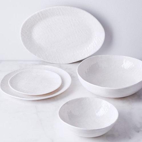 White Weave Melamine Dinner Plate