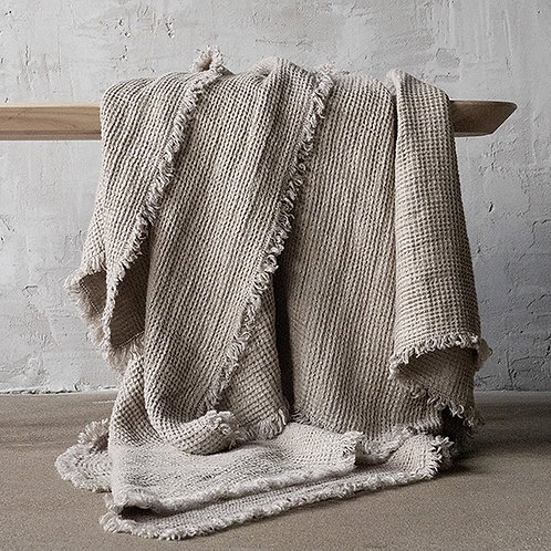 Linen Washed Waffle Throw Natural with Fringe