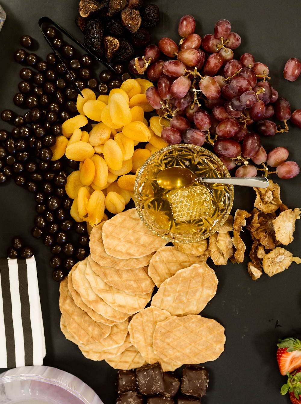 apricots, chocolate, grapes, pineapple, charcuterie