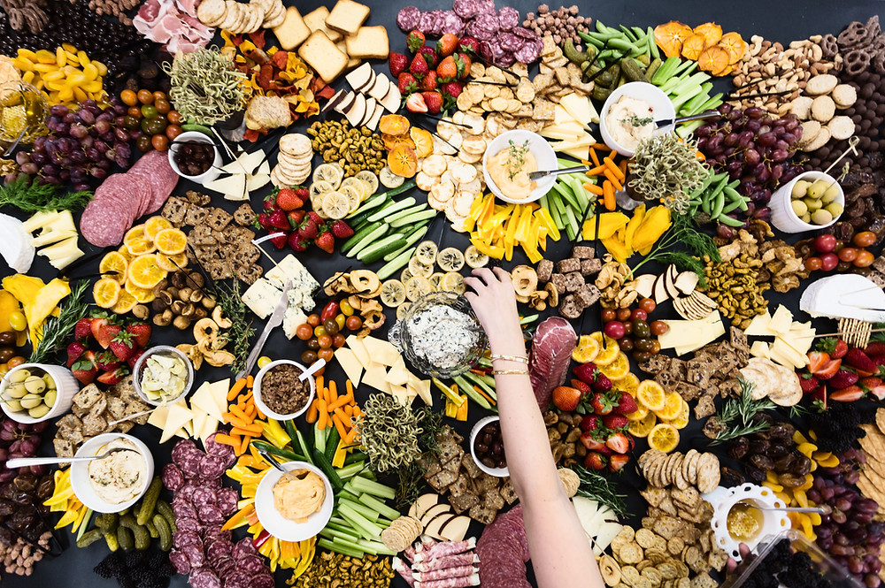 party, food, charcuterie, fruit, veggies, charcuterie board