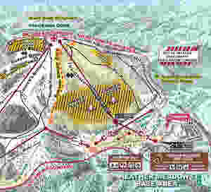 An illustration taken from the Mount Baker Ski Area website focused on the Heather Meadows Base Area, showing specifically Chair 1, 2, and 3.