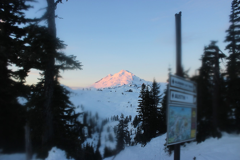 The Eastern face of Mount Baker glowing pink against the sunrise, while the western side remains dark blue in the twilight. A trail map on the right shows two black diamond runs ahead, and the edges of the photos, a framing of trees around the peak, is blurry from snow on my camera lense.