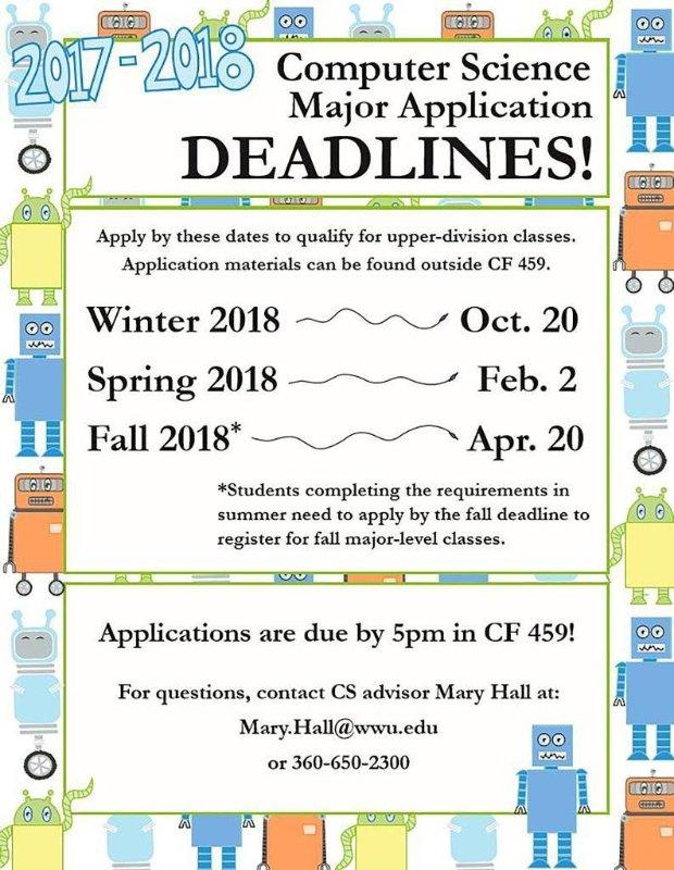 CS Major Application Deadlines
