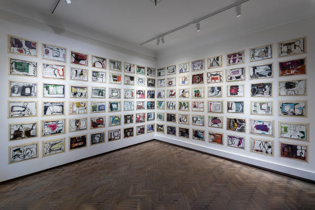 Untitled (96 drawings installation), 2016-2019