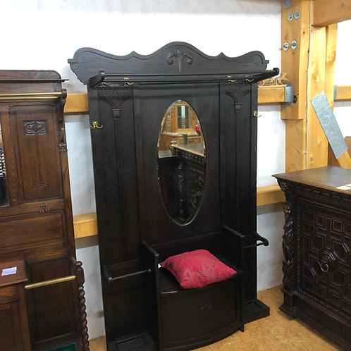 Garderobe aus dunkler Eiche mit Sitzbank