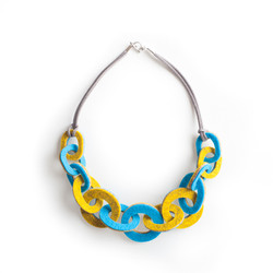 Strata Link necklace Canary yellow & Turquoise