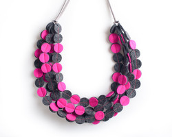 Strata Coin Necklace Neon pink & charcoal