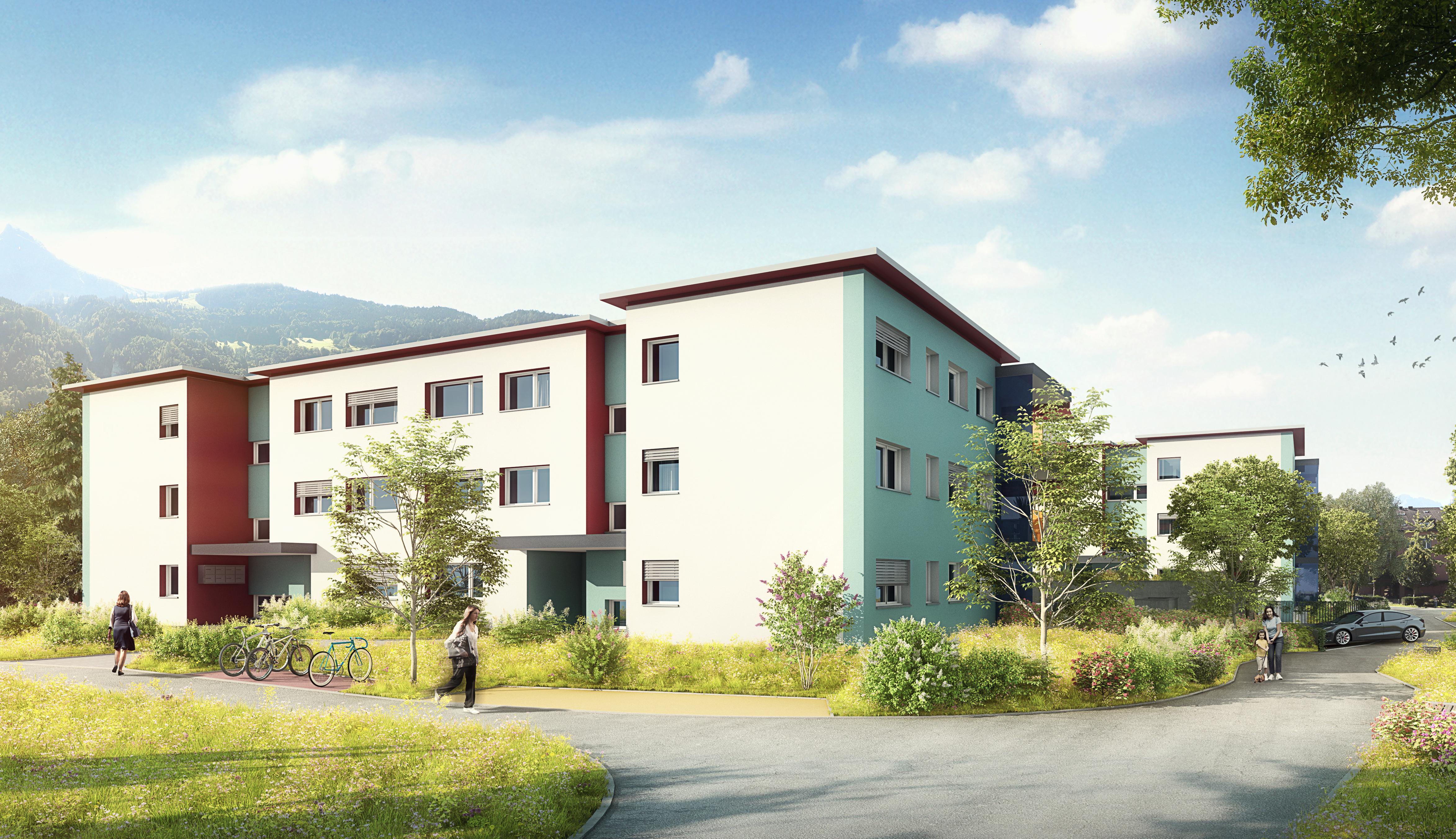 Rüteli Mollis Wohnüberbauung farbig