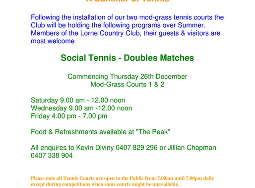 Tennis at the Lorne Country Club