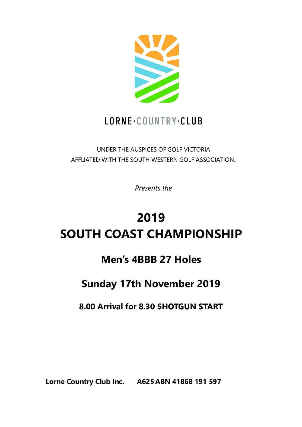 Entries available on-line or in the Lorne Country Club