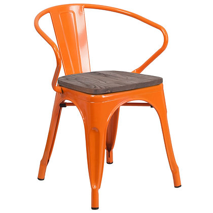 Tolix Style Armrest Wood Seat Metal Stacking Chair - Orange