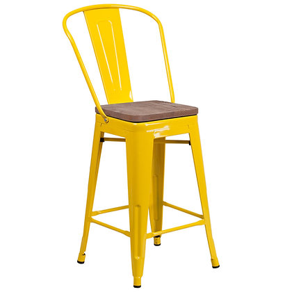 """24""""High Counter Height Stool With Back And Wood Seat - Yellow"""
