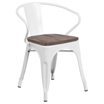 Tolix Style Armrest Wood Seat Metal Stacking Chair - White