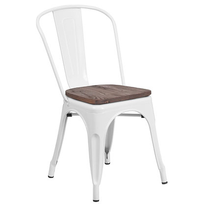 Tolix Style With Back And Wood Seat Metal Stacking Chair - White