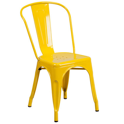 Tolix Style Metal Stacking Chair -Yellow