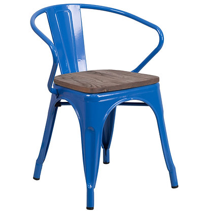 Tolix Style Armrest Wood Seat Metal Stacking Chair - Navy Blue