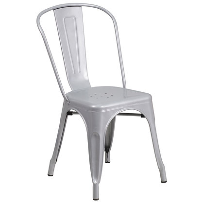 Tolix Style Metal Stacking Chair - Silver