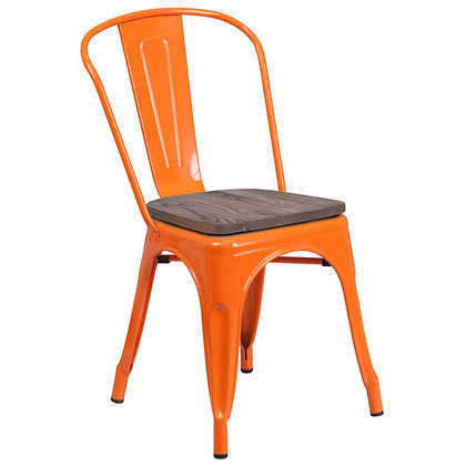 Tolix Style With Back And Wood Seat Metal Stacking Chair - Orange