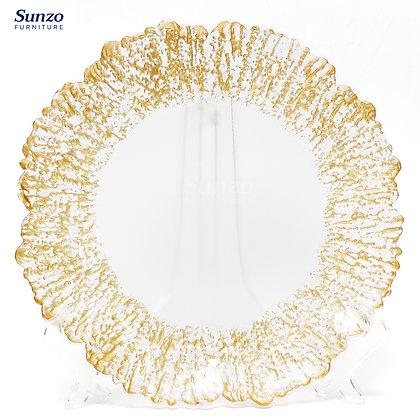 Wedding Glass Antique Cheap Gold Clear Transparent Charge Plates SZ-3011