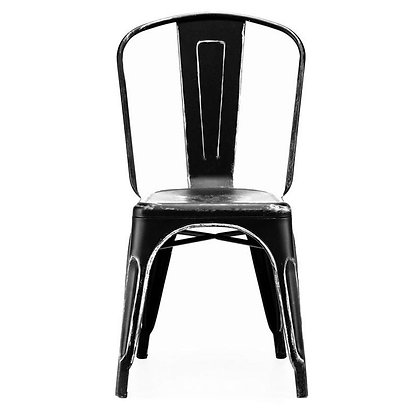 Tolix Style Metal Stacking Chair - Black Silver