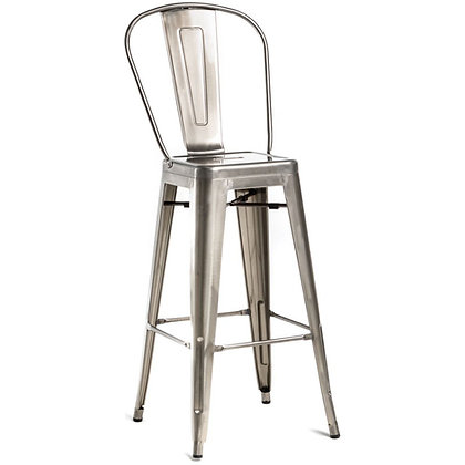"""30""""High Counter Height Stool With Back And Wood Seat - Transparent"""