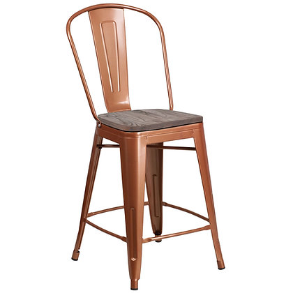 Tolix Style Bar Height Stool with Tall Back Rest - Copper