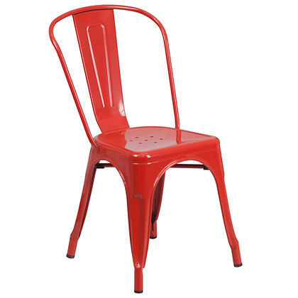 Tolix Style Metal Stacking Chair - Red