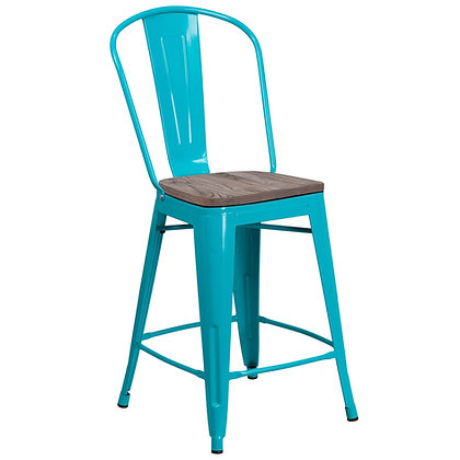 """24""""High Counter Height Stool With Back And Wood Seat - Crystal Teal-Blue"""