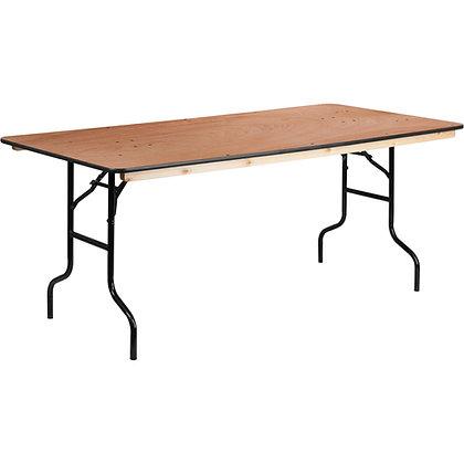 Rectangular Wooden Trestle Table - 6ft x 2ft 6in (183cm x 76cm)