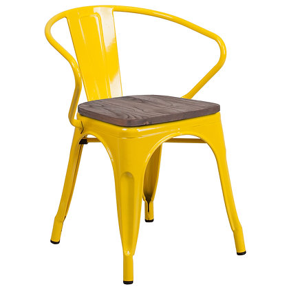 Tolix Style Armrest Wood Seat Metal Stacking Chair - Yellow