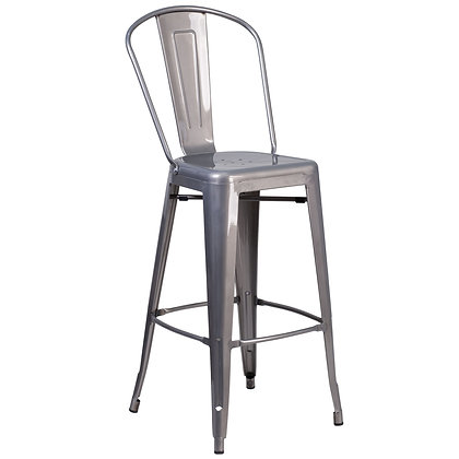 "30""High Counter Height Stool With Back And Wood Seat - Silver"