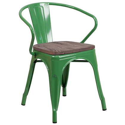 Tolix Style Armrest Wood Seat Metal Stacking Chair - Green