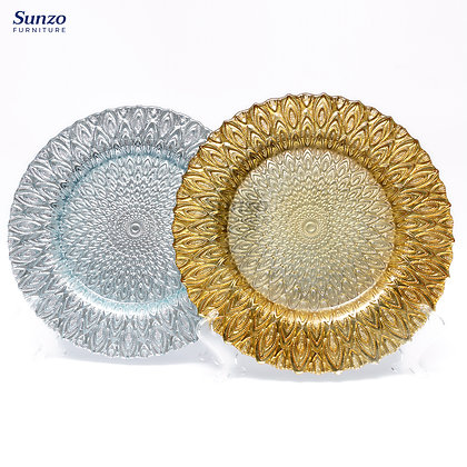 Peacock Charger Glass Plate SZ-3005