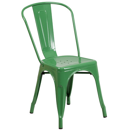 Tolix Style Metal Stacking Chair - Green