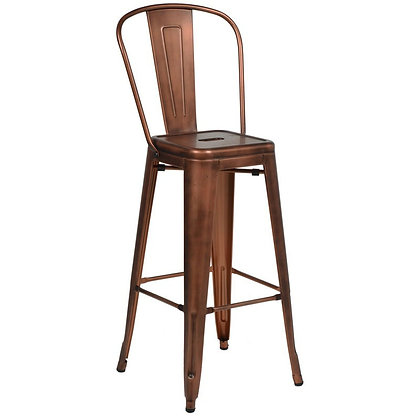 "30""High Counter Height Stool With Back And Wood Seat - Copper"