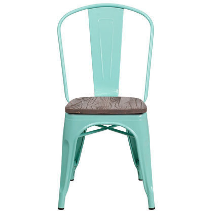 Tolix Style With Back And Wood Seat Metal Stacking Chair - Pink Greenish