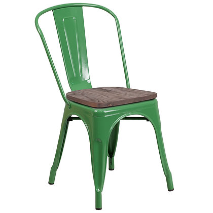Tolix Style With Back And Wood Seat Metal Stacking Chair - Green