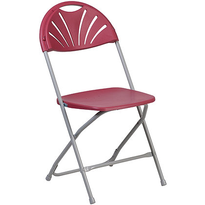 Plastic Folding Chair Grey Frame Burgundy Shell (SZ-6506)