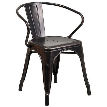 Tolix Style Armrest Metal Stacking Chair - Antique Black Gold