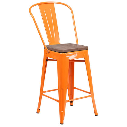 """24""""High Counter Height Stool With Back And Wood Seat - Orange"""