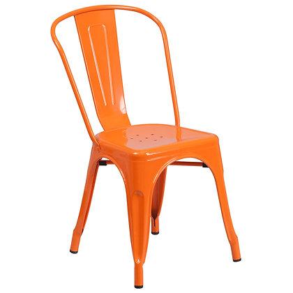 Tolix Style Metal Stacking Chair - Orange