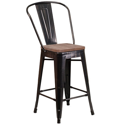 """24"""" High Counter Height Stool With Back And Wood Seat - Black Silver"""