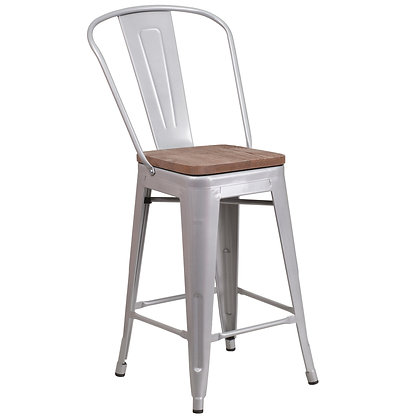 """24"""" High Counter Height Stool With Back And Wood Seat - Silver"""